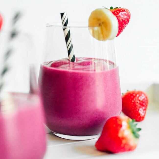 This Pink Power Beet Smoothie takes the classic strawberry banana smoothie and super-charges it with antioxidant-rich roasted beets!