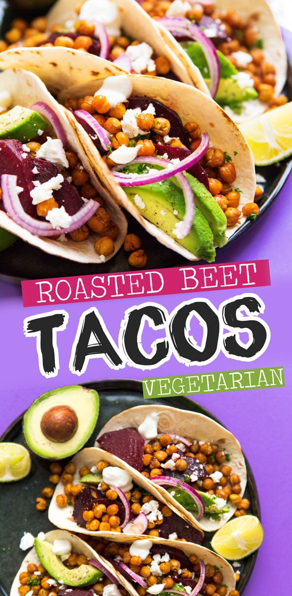 In need of some vegetarian taco night ideas? This Beet and Chickpea Tacos recipe is an easy vegetarian dinner that's simple to make and packed with so much flavor (plus, they keep you full for hours!) Great for family Taco Tuesday! #tacorecipes #tacotuesday #vegetarianrecipes #dinnerrecipes