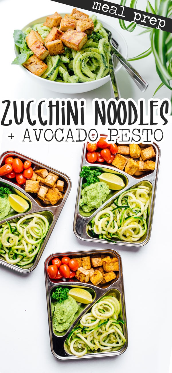 This Zucchini Noodles Vegetarian Meal Prep is a low carb lunch idea that's packed with avocado pesto, crispy baked tofu, and fresh veggies! A flavor packed healthy lunch for meal planning day. #vegetarianrecipes #mealprepping #mealpreprecipes #lowcarb #lowcarbrecipes #spiralize