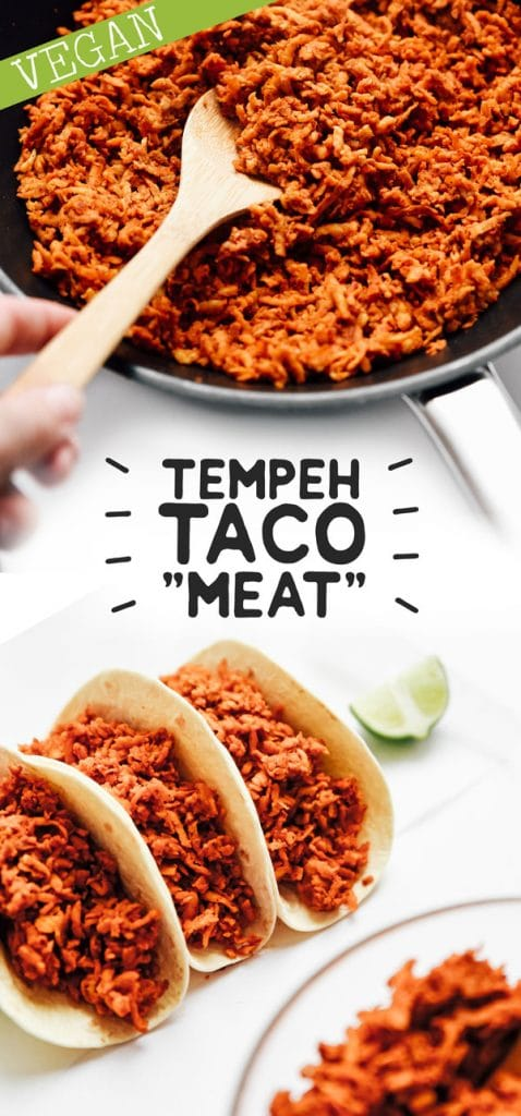 Flavor-packed vegan Tempeh Taco Meat with smoky spices and the perfect texture (and it's ready on the stove in under 15 minutes)!