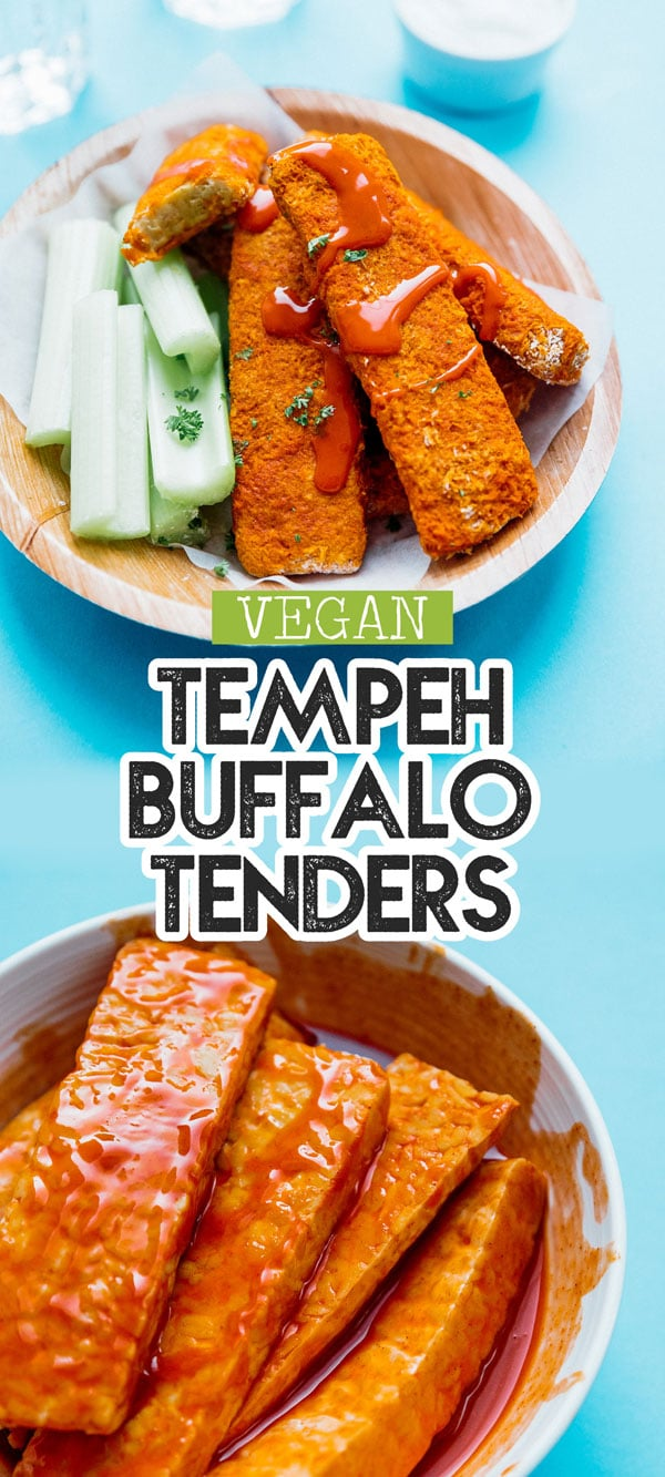This Buffalo Tempeh Tenders recipe is baked to crispy perfection and slathered in buffalo sauce to make the most addictive healthy vegetarian comfort food! A great healthy appetizer or snack idea for game night. #vegetarianrecipes #tempeh #buffalosauce #vegetarian #appetizers #dinner