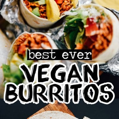 vegan burritos recipe on black background