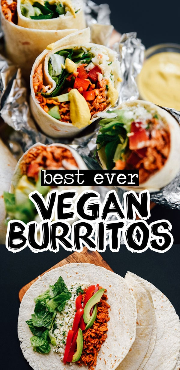 This Vegan Burritos recipe has it all: easy tempeh taco meat, smoky queso cheese sauce, and Chipotle copycat cauliflower rice! An easy and healthy burrito recipe that's full of flavor and perfect for weeknight dinners. #veganrecipes #vegetarianrecipes #burritos #mexicanrecipes #vegan #vegetarian #tacos