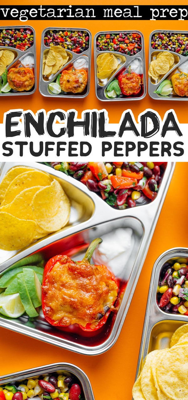 This vegetarian meal prep recipe has enchilada-flavored quinoa stuffed peppers and an easy bean salad. Your flavor packed healthy lunch this week is taken care of with this easy meal prepping idea. #mealprep #mealplanning #mealpreprecipes #vegetarianrecipes #lunchrecipes #stuffedpeppers