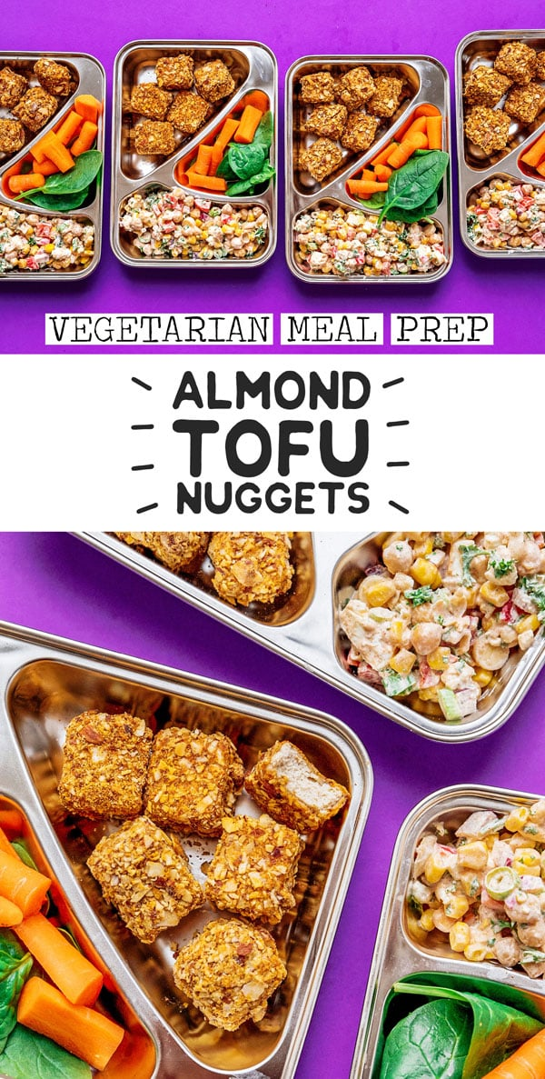 A high protein vegetarian meal prep recipe that's sure to keep you full all day. Almond crusted tofu nuggets paired with a creamy, veggie-packed chickpea corn salad! This is a flavor-packed vegetarian meal prep lunch idea perfect for bringing to work or school. #mealprep #vegetarianrecipes #mealplanning #highprotein #proteinrecipes #plantbasedprotein