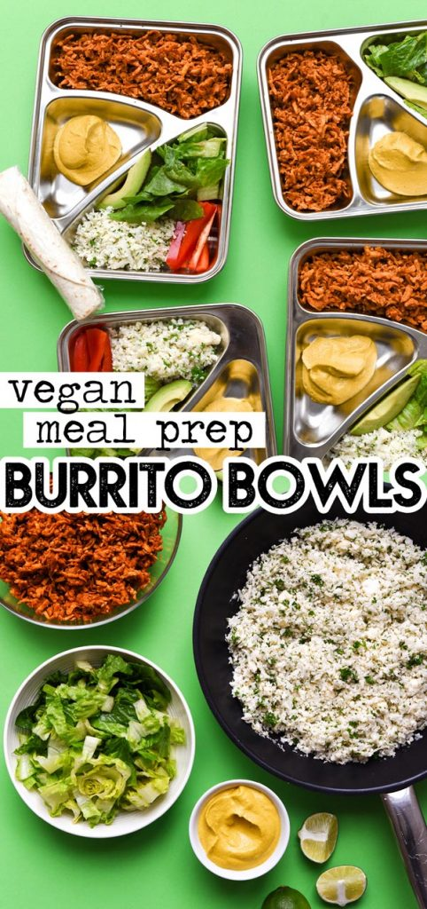 Meal prep boxes on a green background - This vegan Burrito Bowl Meal Prep is the perfect make ahead lunch that makes clean eating all week easy (and delicious)!