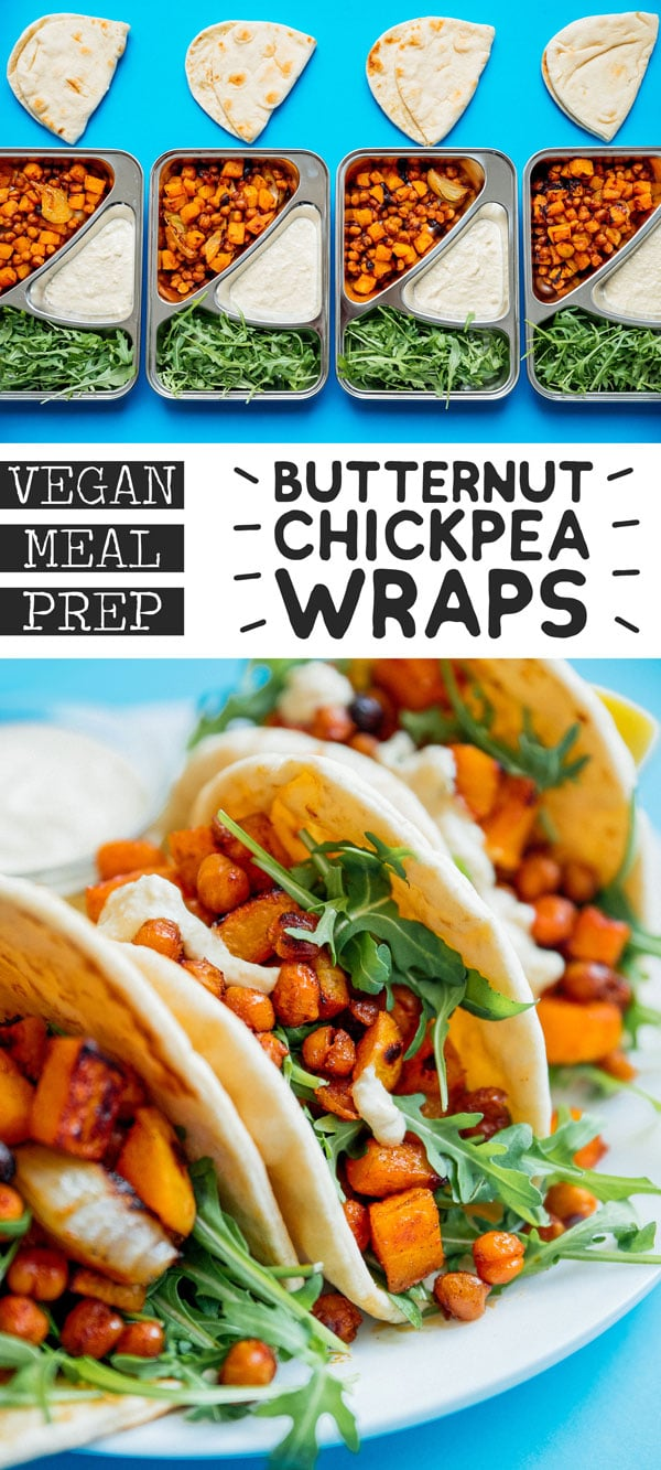 This Butternut Bowl Meal Prep recipe is packed with spiced roasted chickpeas and butternut, drizzled with lemony hummus sauce, and is totally vegan! It's a vegan lunch idea perfect for healthy meal planning that is full of flavor (and veggies) to keep you excited for lunch. #mealprep #mealplanning #veganrecipes #vegetarianrecipes #lunchrecipes #vegan #recipes #healthyrecipes #mealpreprecipes