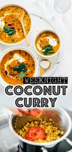 Red curry in bowls on white background - This Coconut Kidney Bean Curry is an easy, flavorful dinner to whip up on busy weeknights!