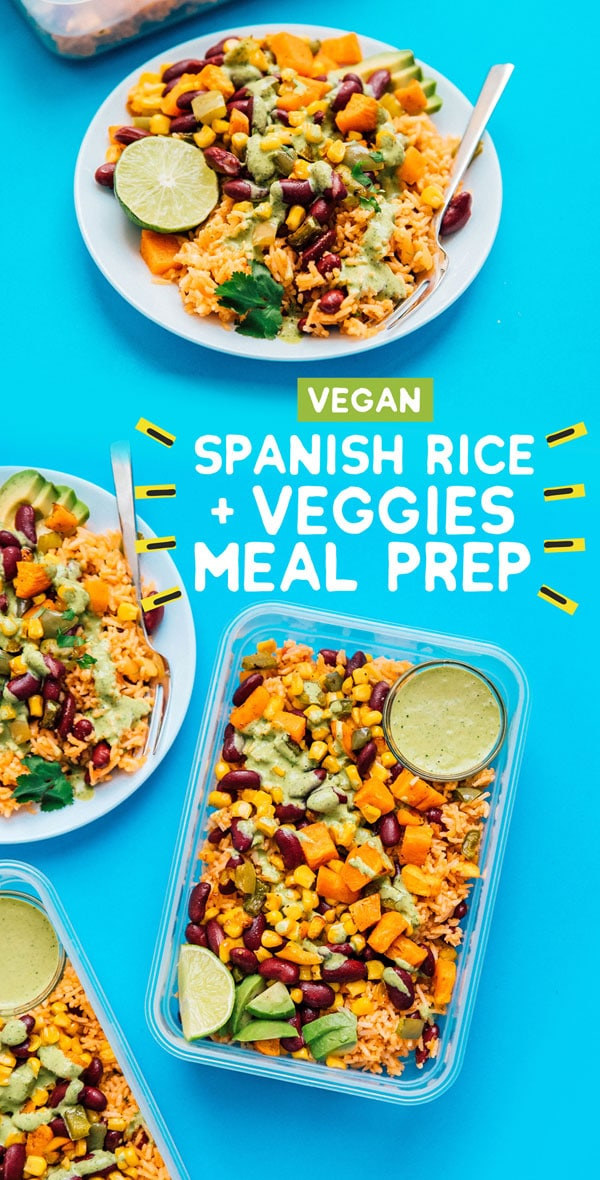 Serving up some easy vegetarian meal prep today in the form of roasted veggies with Spanish rice, tossed in a creamy cilantro dressing! A healthy lunch meal prep recipe that's packed with flavor and takes care of your easy lunched for the week. #mealprep #mealplanning #vegetarianrecipes #veganrecipes #ricerecipes