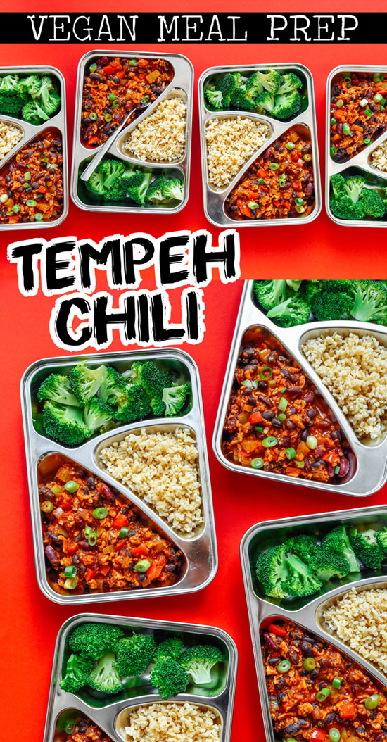 This vegan Tempeh Chili Meal Prep recipe is ready in 30 minutes and takes care of lunch for the week (plus it's like...really tasty). It's a healthy meal prep idea that's full of flavor and keeps you full all day. #mealprepping #veganrecipes #vegetarianrecipes #glutenfreerecipes #mealpreprecipes #mealplanning