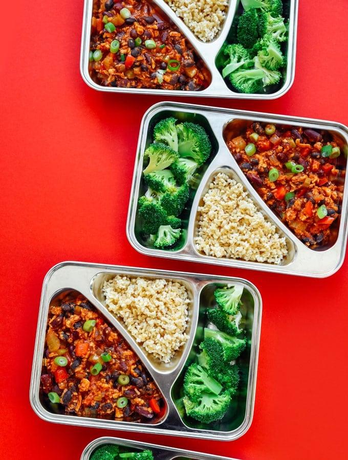 11. Tempeh Chili Meal Prep