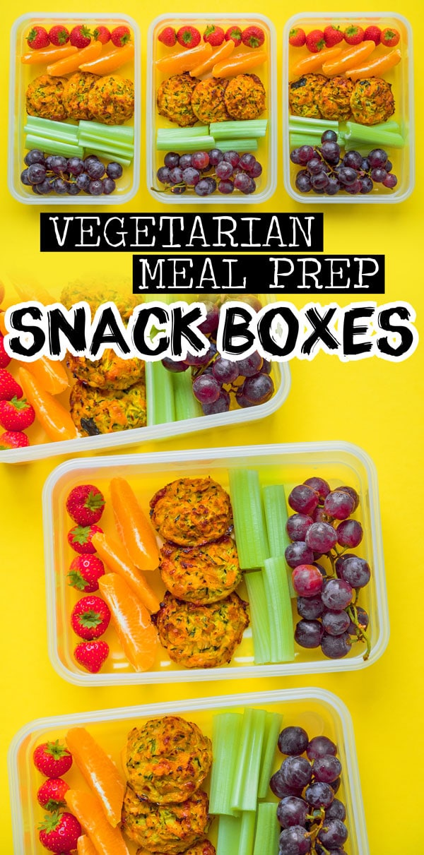 These Meal Prep Snack Boxes are a fun and healthy snack to prepare for the week, filled with fruits, veggies, and tasty Zucchini Cheddar Bites! They're a great meal prep recipe that are vegetarian and easy to make. #mealprep #vegetarianrecipes #snackrecipes #mealplanning