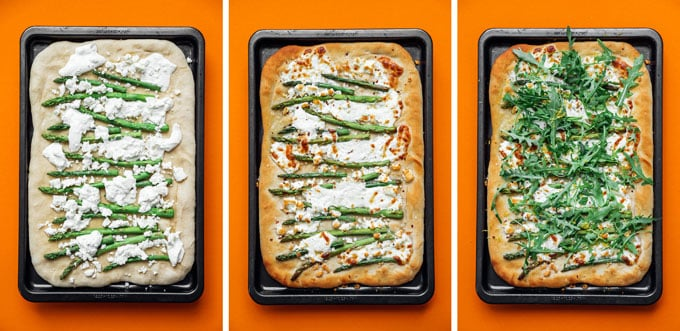 Asparagus pizza recipe on orange background - This Burrata Asparagus Pizza is a simple yet downright delicious flatbread to whip up on pizza night. Creamy burrata piled with tender asparagus, fresh arugula, and lemon!