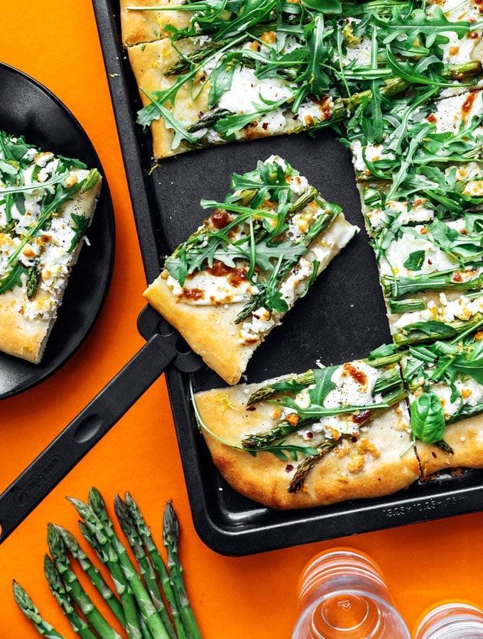Asparagus Pizza with Burrata and Arugula