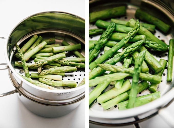 Steamed asparagus recipe on white background - The ultimate guide on how to cook asparagus! How to cook asparagus in the oven, in the microwave, or by blanching, steaming, or sautéing.