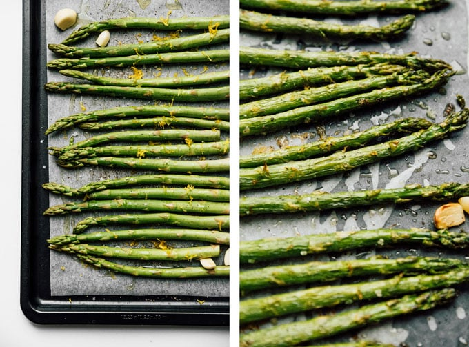 Roasted asparagus recipe on white background - The ultimate guide on how to cook asparagus! How to cook asparagus in the oven, in the microwave, or by blanching, steaming, or sautéing.