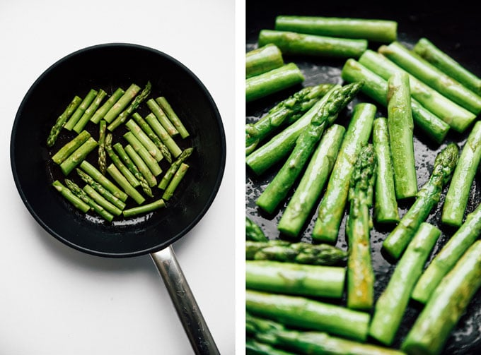 Sautéed asparagus recipe on white background - The ultimate guide on how to cook asparagus! How to cook asparagus in the oven, in the microwave, or by blanching, steaming, or sautéing.