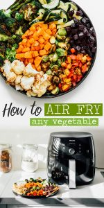 Roasted vegetables on a white background - Your ultimate guide to air fryer vegetables! How to air fry virtually any vegetable into perfectly cooked, healthy deliciousness.