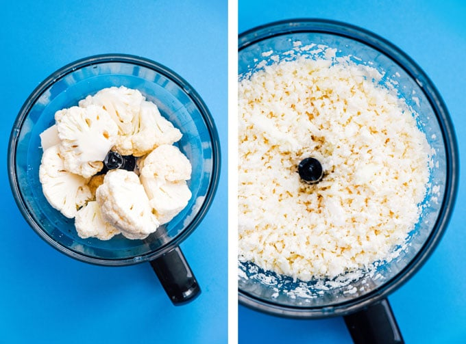 Cauliflower risotto recipe in a bowl on a blue background - This Cauliflower Risotto recipe is a low carb, keto-friendly twist on traditional risotto. Creamy and cheesy, without all the carbs!