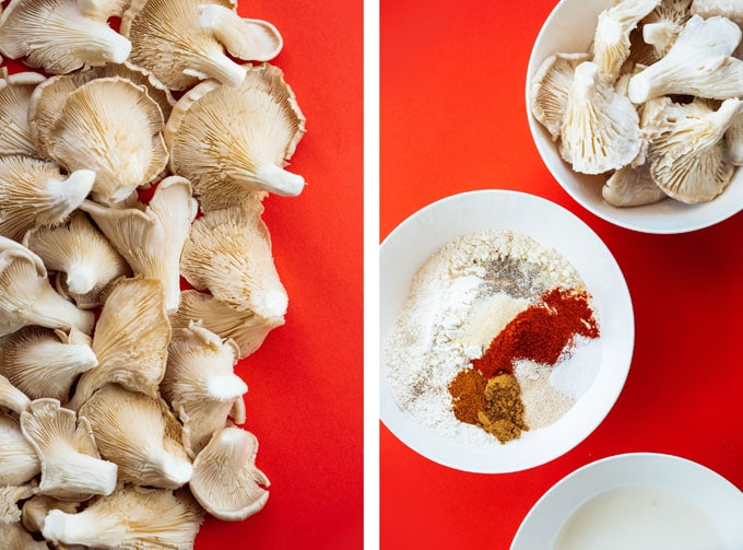 Ingredients to make air fryer fried oyster mushrooms recipe.