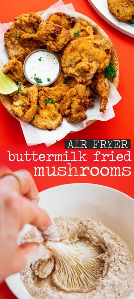Air fryer fried oyster mushrooms recipe with a dipping sauce