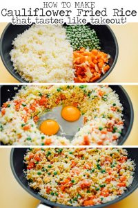 How to make low carb cauliflower fried rice recipe on a black plate
