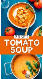 This Fresh Tomato Soup recipe uses garden-ripe tomatoes and fresh ingredients (no cans or pastes here)! It's such an easy homemade tomato soup that's perfect for using up those tomatoes.
