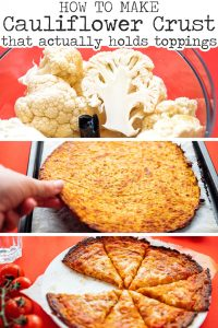 How to make cauliflower pizza crust recipe with pizza on red background