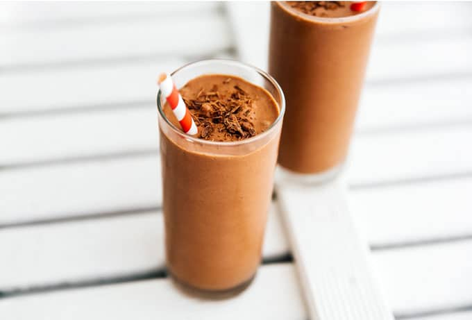 Very low carb smoothie recipe with chocolate in a glass on a white background