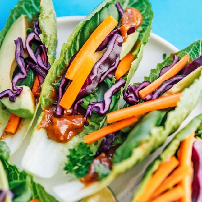 Fresh veggie lettuce wraps on a plate
