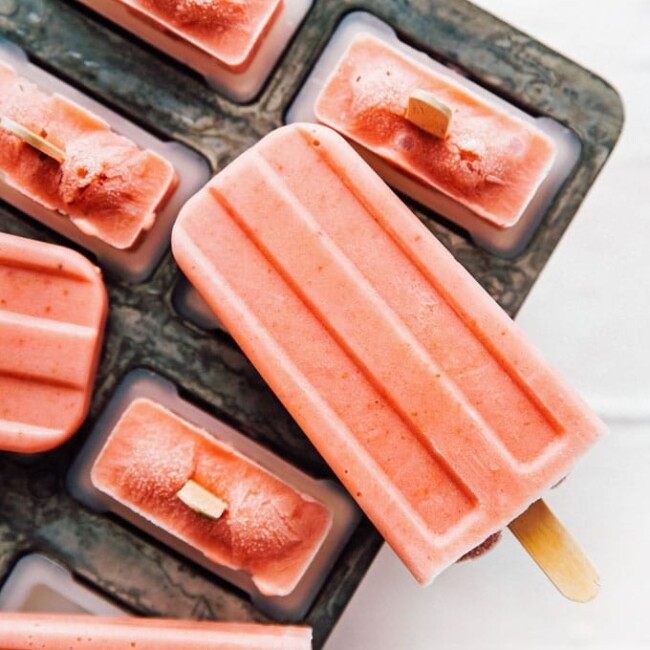 Banana strawberry popsicles recipe in a popsicle mold