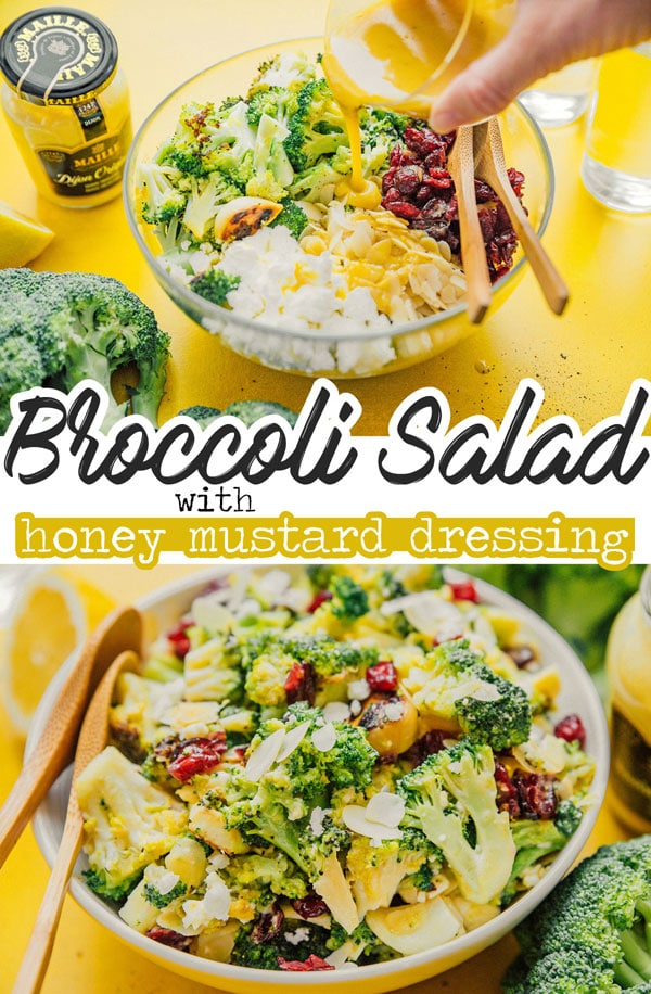 Broccoli salad in a bowl on a yellow background