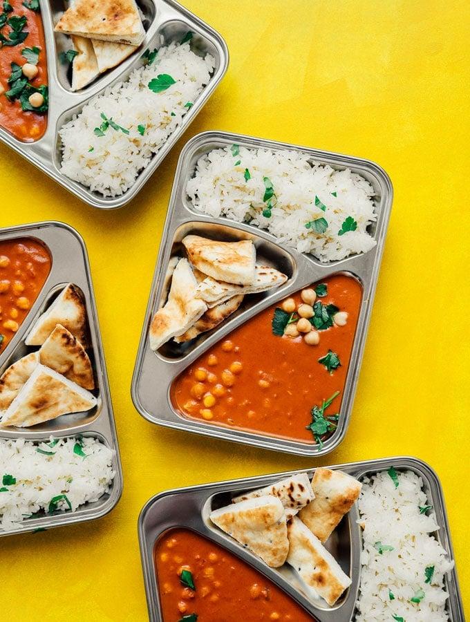 7. Chickpea Tikka Masala Meal Prep