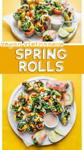 Veggie spring rolls cut in half on a plate