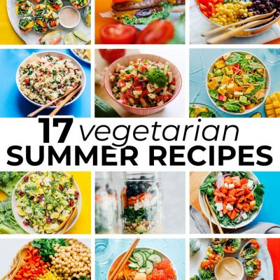 Collage of vegetarian summer recipes