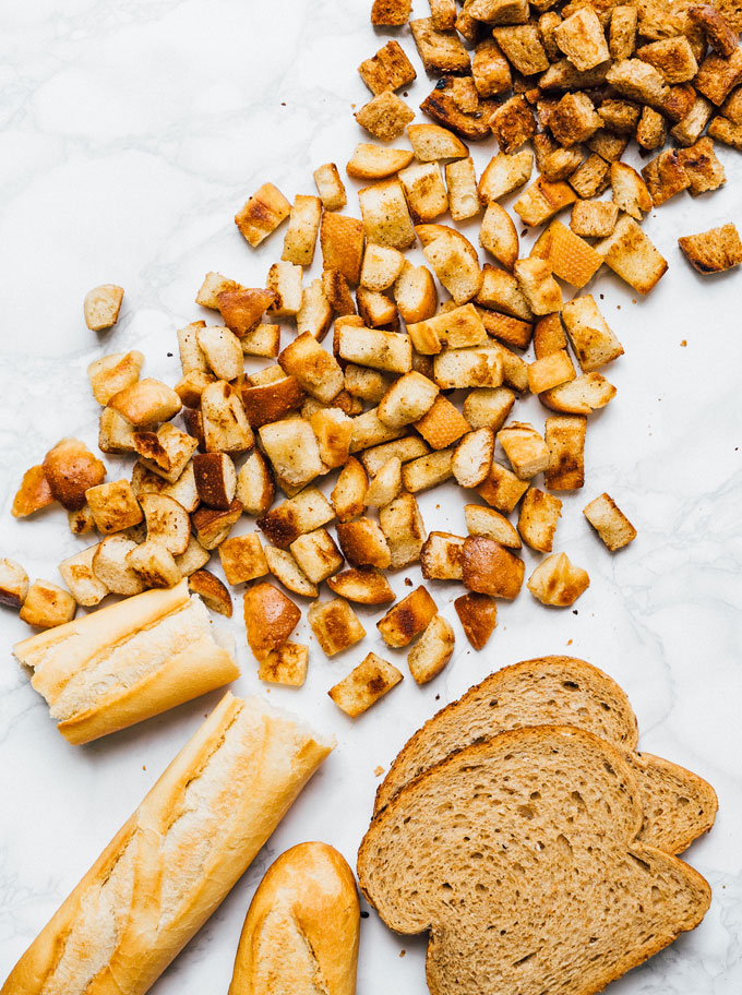 Homemade croutons on a marble background