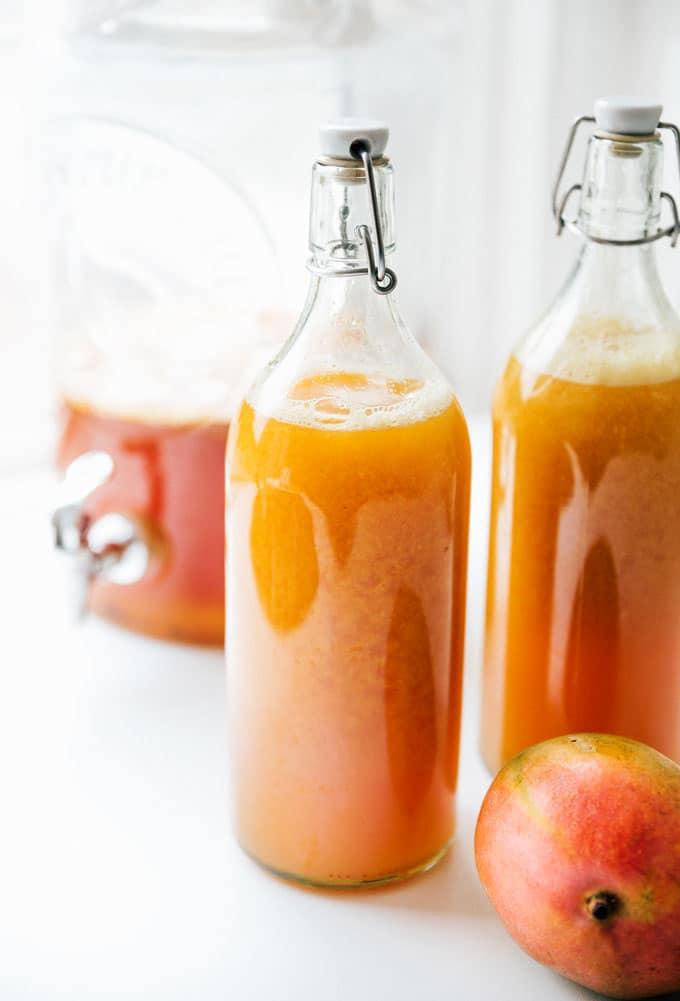 Mango kombucha recipe in bottles