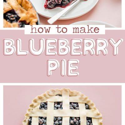 Slice of blueberry pie with ice cream