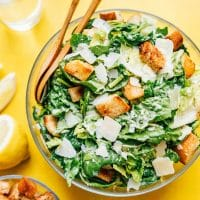 Caesar salad in a glass bowl