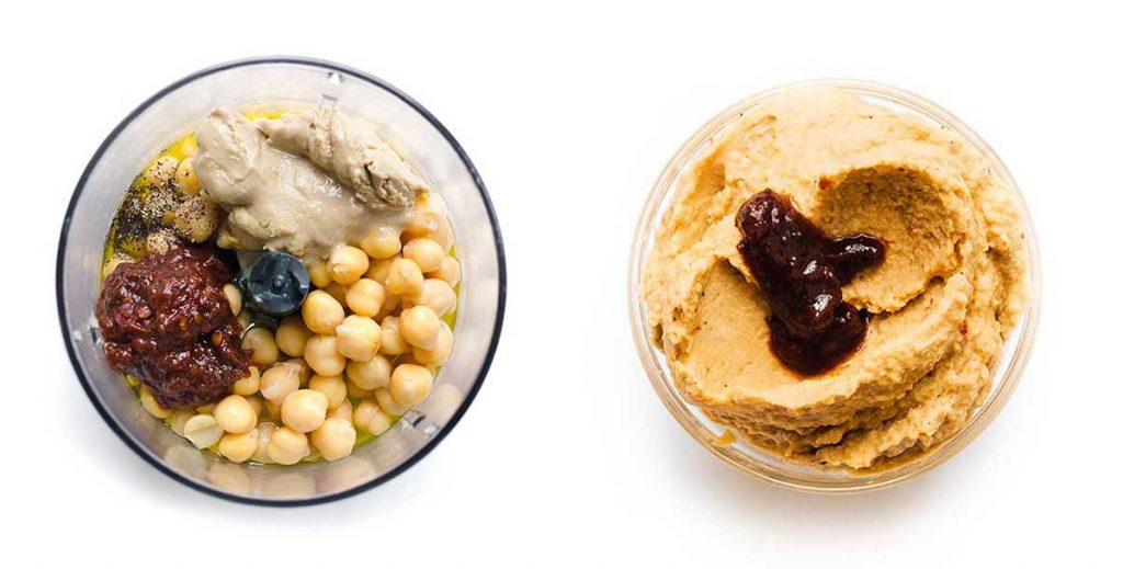 Adobo homemade hummus in a bowl on a white background