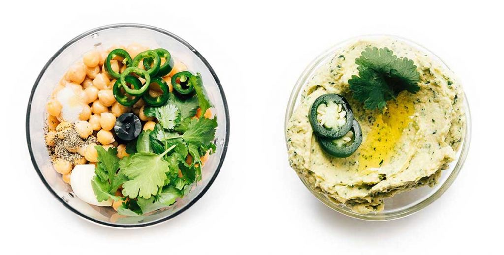 Jalapeno homemade hummus in a bowl on a white background