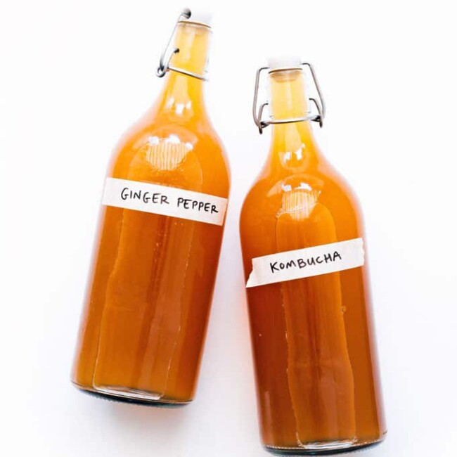 Pepper ginger kombucha in bottles