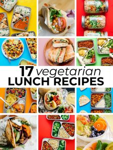 collage of vegetarian lunch recipe ideas