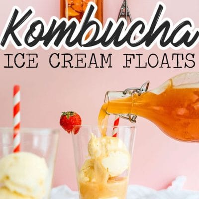 Pouring strawberry kombucha into ice cream float