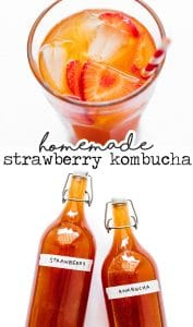 Strawberry kombucha in a glass