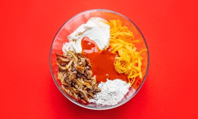 Ingredients to make buffalo dip vegetarian
