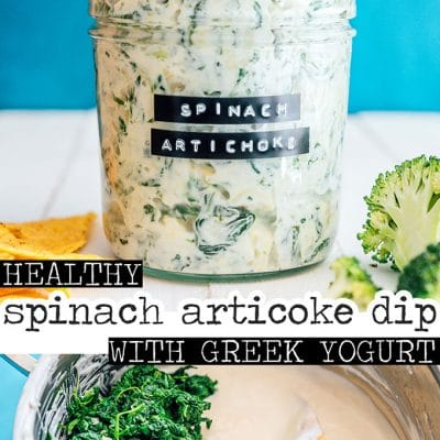 Spinach artichoke dip in a jar with a label