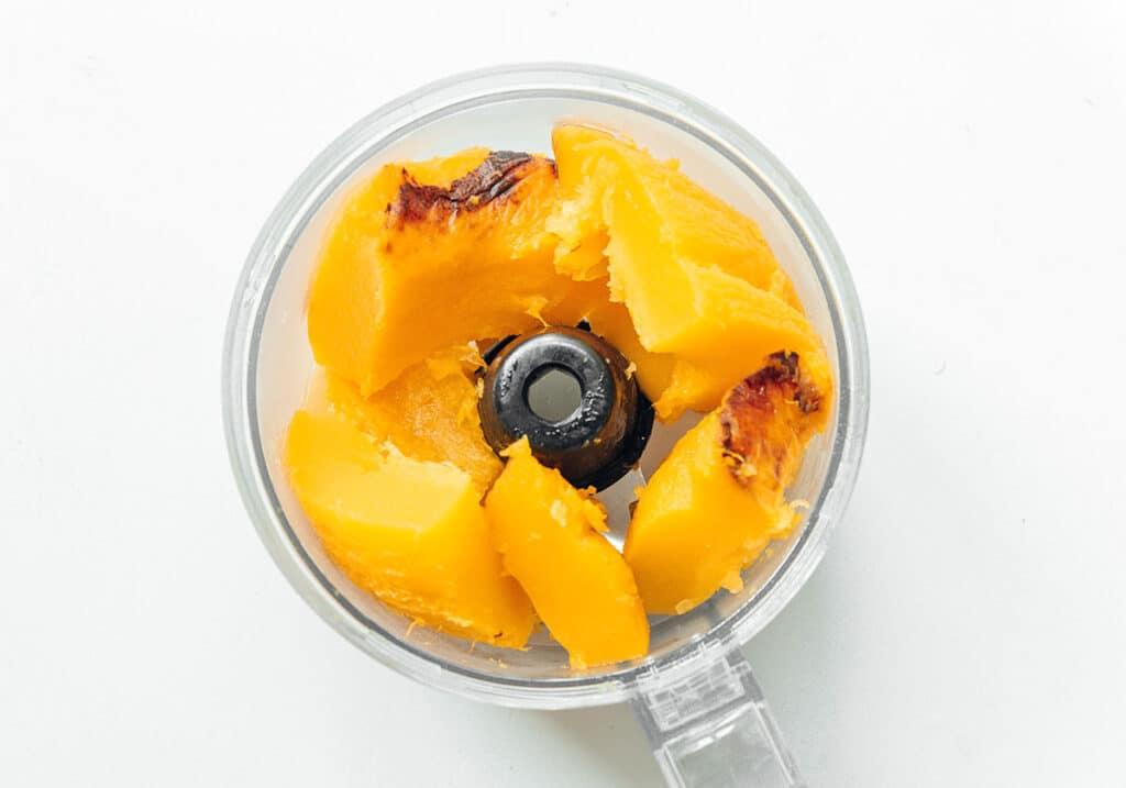 Homemade pumpkin puree in a food processor