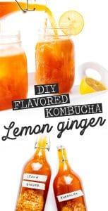 Lemon ginger kombucha in a mason jar on a white background