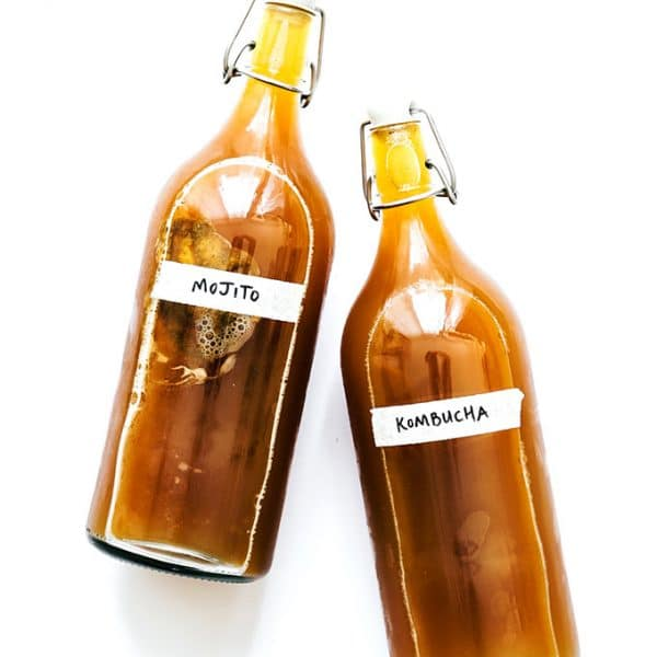 Mint lime kombucha in fermentation bottles